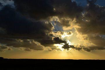 Zonsondergang boven de Waddenzee von Henk van der Sloot