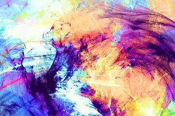 Modernes, abstraktes digitales Aquarellkunstwerk in Orange-Rosa-Violett von Art By Dominic