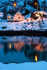 Houten Hut in Hamn op het eiland Senja van
