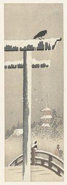 Torii in de sneeuw, Ohara Koson