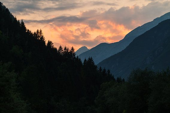 Zonsondergang in Julische alpen