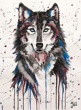 Wolf-Aquarell von Bianca ter Riet