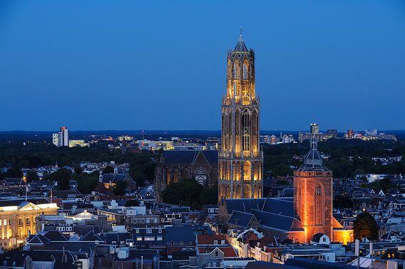 Stadsgezicht van Utrecht met Domkerk, Domtoren en Buurkerk van Donker Utrecht