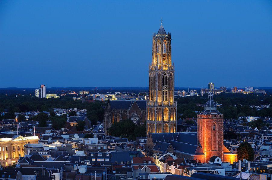 Stadsgezicht van Utrecht met Domkerk, Domtoren en Buurkerk