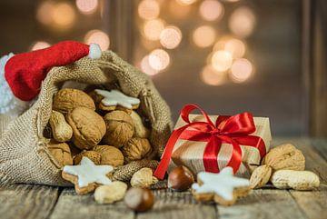 De zak van de kerstman met noten, koekjes, kerstgift van Alex Winter