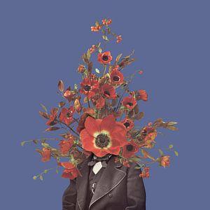 Zelfportret met bloemen 4 (paarse achtergrond)