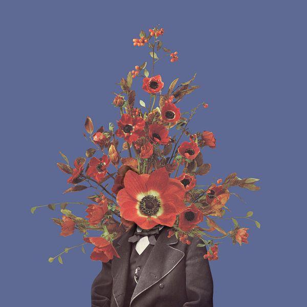 Zelfportret met bloemen 4 (paarse achtergrond) van toon joosen