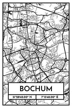 Bochum – City Map Design Stadtplan Karte (Retro) von ViaMapia