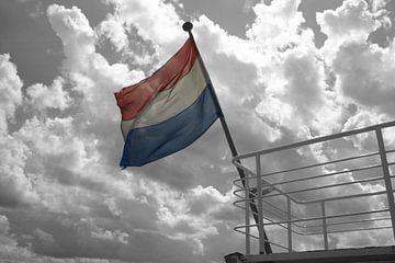 Niederländische Flagge in schwarz / weiß von EnWout