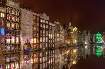 Nachtfoto Damrak Amsterdam van Wouter Sikkema