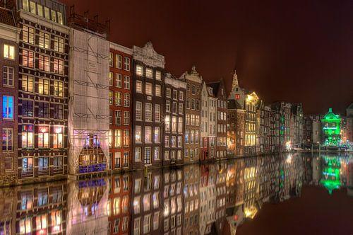 Nachtfoto Damrak Amsterdam van