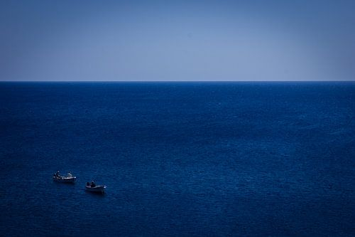 Vissers op open zee van
