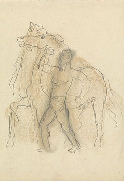 Man houdt twee paarden in bedwang van Eigenwijze Fotografie