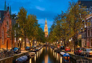 Gracht in Amsterdam bij Nacht van Michael Abid