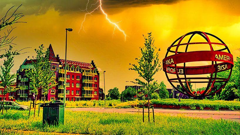 Die Welt in Flammen von Digital Art Nederland