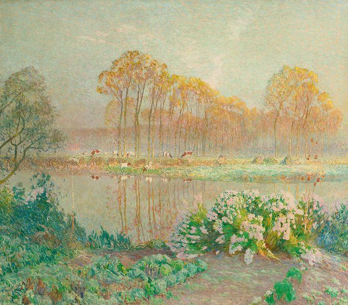 Landschaft mit Teich und Blüten, Emile Claus von Meesterlijcke Meesters