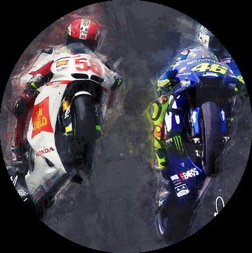 Olieverf portret van Marco Simoncelli & Valentino Rossi versie 1 van Bert Hooijer
