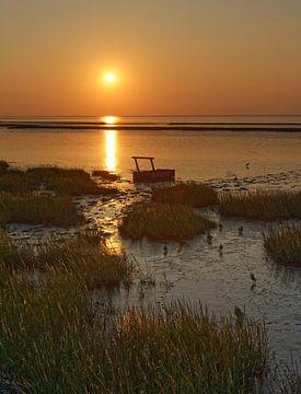 Abend im Watt mit Sonnenuntergang von Peter Eckert