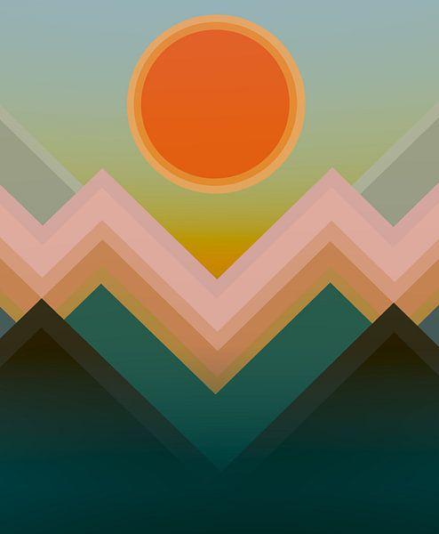 Coucher de soleil dans les montagnes 12 van Angel Estevez