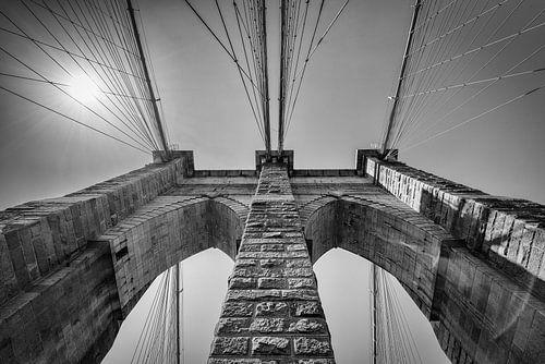 Brooklyn Bridge, New York in Zwart-Wit
