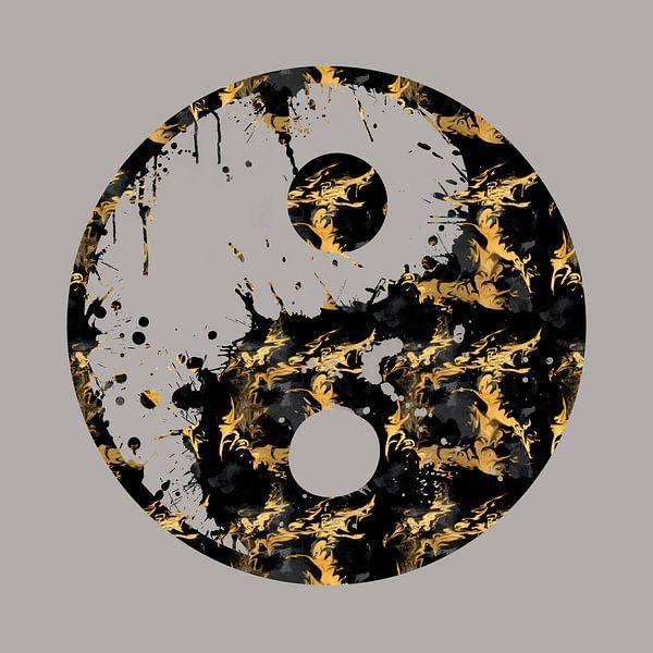Abstracte YIN EN YANG Symbool Taijitu van Melanie Viola
