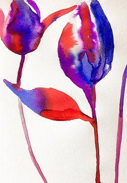 Rote und blaue Tulpen von Helia Tayebi Art