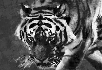Ölgemälde Porträt eines Tigers von Bert Hooijer