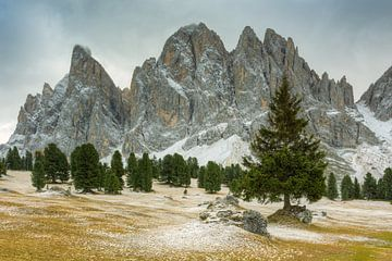 Geisler Dolomites in Val di Funes in South Tyrol sur