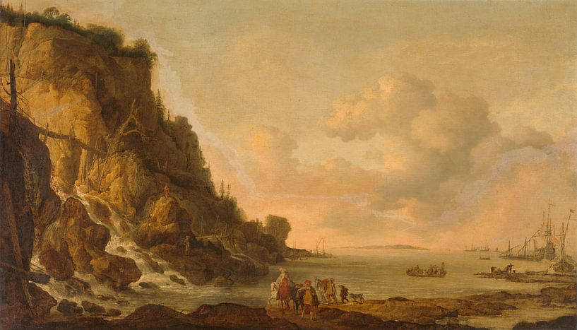 Rocky Coast, Simon de Vlieger (zugeschrieben) von Meesterlijcke Meesters
