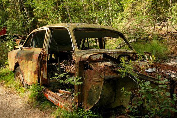 Auto op autokerkhof in het bos