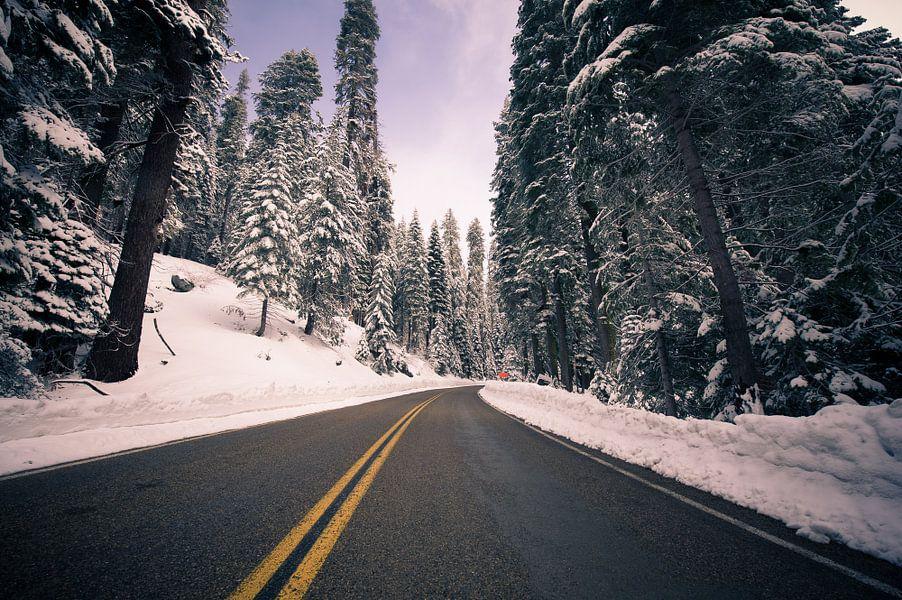 De weg door de sneeuw