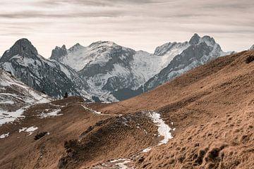 Schneebedeckter Wanderweg vor den Alpstein Bergen von Besa Art