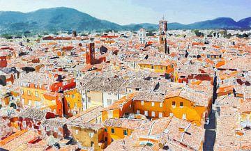 Boven de Daken van Lucca in Italie - Schilderij