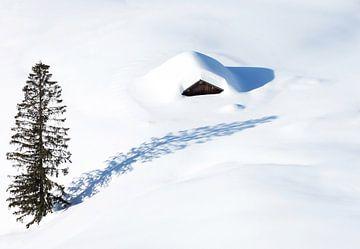 Hutte isolée dans la neige