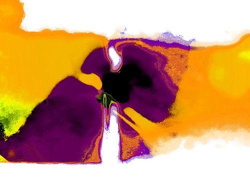 Abstract art in purple and yellow van Gabi Hampe