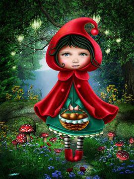 Roodkapje - Mail me je foto, dan wordt je dochter roodkapje! van Anouk Muller - Funqy Wall Art