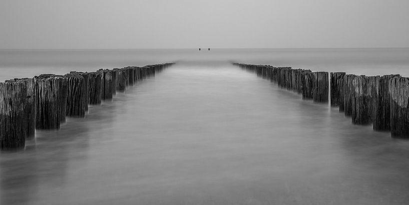 Strand Domburg met golfbrekers in zwart-wit - 1 van Tux Photography