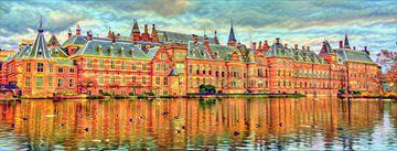 Kleurrijk Buitenhof aan de Hofvijver Den Haag van Slimme Kunst.nl