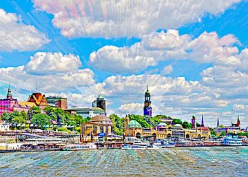 Elbe und Landungsbrücken von Leopold Brix