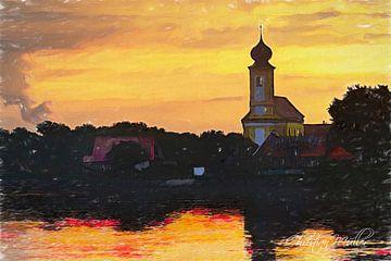 Künstlersiche Landschaft / Kirche mit Sonnenaufgang von Christian Mueller