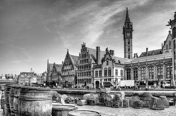 Gent Belgie, Digitale kunst in zwartwit von Watze D. de Haan