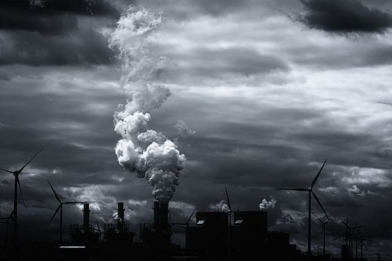 Grimmig zwart wit energie landschap