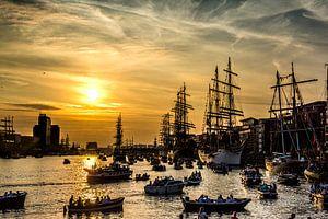 Sail Amsterdam met zonsondergang