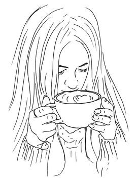 Genieten van een grote bak cappuccino van Natalie Bruns