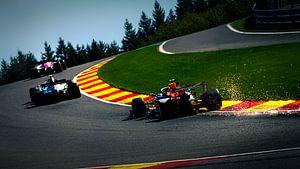 alexander albon, valterri Bottas en Kimi Raikkonen tijdens de formule 1 grand prix van België in spa van Rubin Versigny