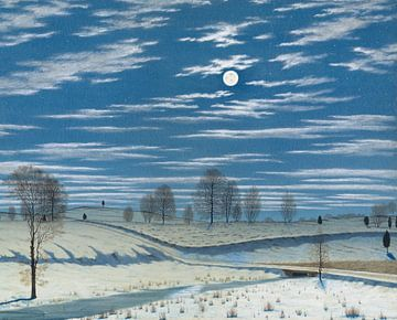 Henry Farrer-Winterszene bei Mondschein