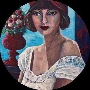 Girl In White Lace van Lucienne van Leijen