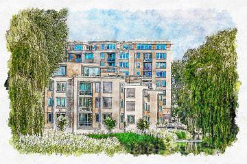 Appartementencomplex Waterland Roosendaal (aquarel) van Art by Jeronimo