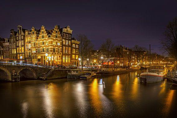 Prinsengracht Amsterdam bij nacht van Peter Bolman