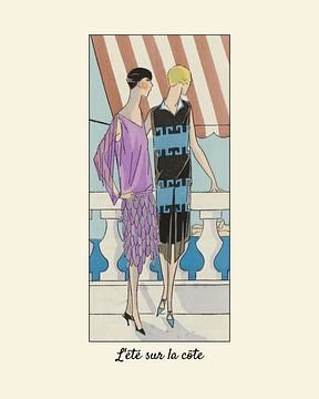 L'été sur la côte | Historischer Art Deco Fashion Druck | Sommerlich, Reisen, Meer, Ozean, Fernweh D von NOONY